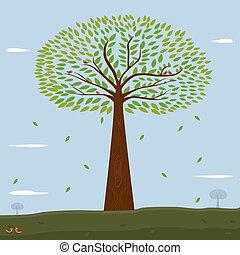 piante, albero verde, leafs.