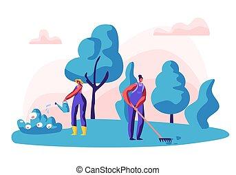 piante, appartamento, tools., giardinaggio, giardino, lavorativo, concept., irrigazione, carattere, illustrazione, work., donna, vettore, femmina, organico, fiori, giardiniere, cura