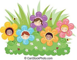 piante, bambini, stickman, fiore, illustrazione