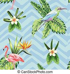 piante, blu, seamless, zigzag, uccello, tropicale, fondo, fiori, composizione