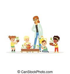 piante, carino, educativo, aiuto, attività, ragazze, illustrazione, insegnante, loro, ragazzi, vettore, durante, cura, botanica, cartone animato, prescolastico, lezione