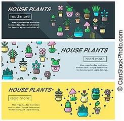 piante casa, e, giardino casa, fiori, vettore, interno, giardinaggio, web, bandiere, disegno, sagoma
