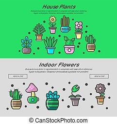 piante casa, e, giardino casa, fiori, vettore, web, bandiere, disegno, per, giardinaggio