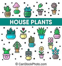 piante casa, in, vasi fiore, vettore, cactus, fioriera, decorazione, icone, abckground