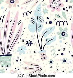 piante, casa, seamless, mano, modello, disegnato