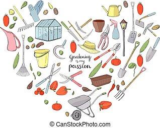 piante, cuore, differente, fatto, giardinaggio, oggetto, isolato, forma, tools., fondo, crescente, bianco