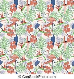 piante, decorativo, fenicottero, pappagallo, seamless, tucano, tropicale, fondo, fiori, uccelli, esotico