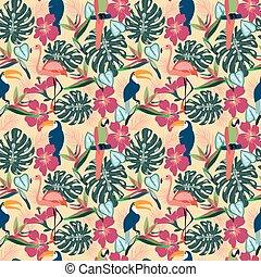 piante, esotico, fenicottero, pappagallo, tucano, fiori tropicali, uccelli
