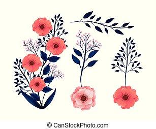 piante, esotico, set, rami, foglie, fiori tropicali