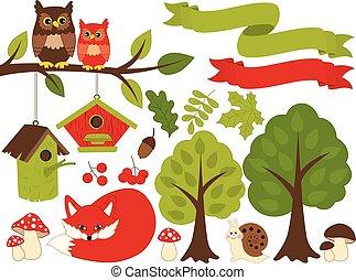 piante, estate, set, animali, foresta