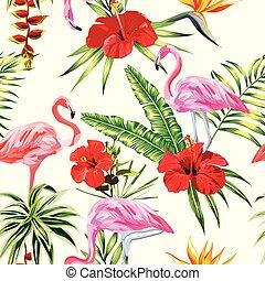 piante, fenicottero, ight, modello, seamless, giallo, tropicale, fondo, fiori, composizione
