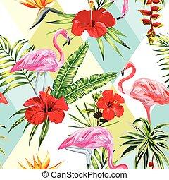 piante, fenicottero, patchwork, modello, seamless, tropicale, multicolor, fondo, fiori, composizione
