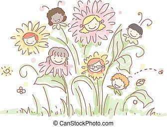 piante, fiori, stickman, bambini