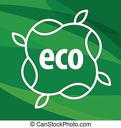 piante, forma, eco, vettore, sfondo verde, logotipo