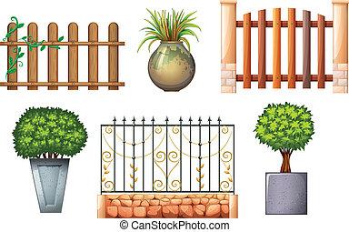 piante, legno, recinti, acciaio