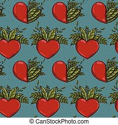 piante, natura, modello, seamless, mezzo, cuori, rosso