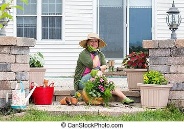 piante, potting, lei, su, nonna, patio