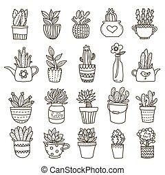 piante, set, domestico, icona