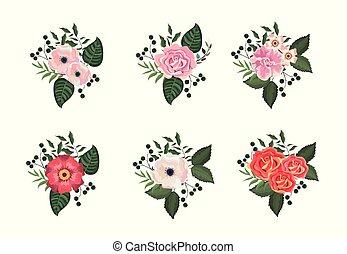 piante, set, foglie, tropicale, rose, fiori