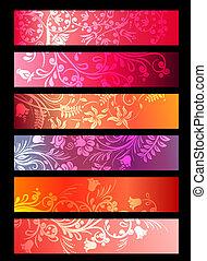 piante, stilizzato, ornare, floreale, bandiere orizzontali, rosso