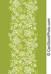 piante, subacqueo, verticale, modello, seamless, sfondo verde, bordo