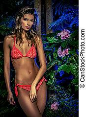 piante, tropicale, bikini, donna