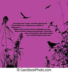 piante, uccelli, stile, ramo, retro