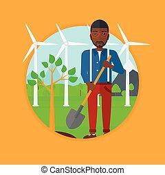 piante, vettore, albero, illustration., uomo