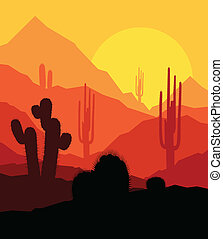 piante, vettore, tramonto, fondo, cactus, deserto