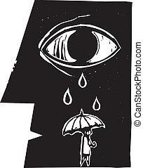 pianto, ombrello