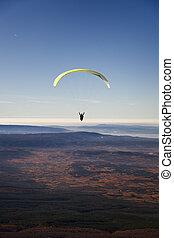 pianura, colori, paragliding, giallo, cadere
