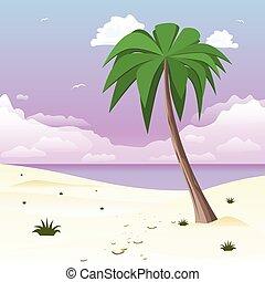 piasek, dłoń drzewo, tropikalna wyspa, biały