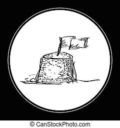 piasek, doodle, zamek, prosty