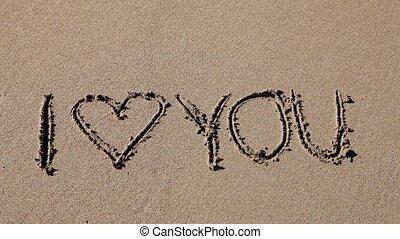 piasek, miłość, pisemny, ty