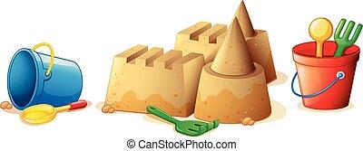 piasek plaża, zamek, zabawki