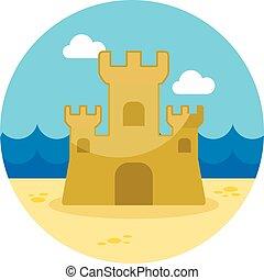 piasek, summer., zamek, icon., urlop