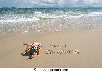 piasek, tropikalny, wesoły, claus, krzesło, święty, pokład, boże narodzenie, pisać, sunglasses, plaża., pisemny