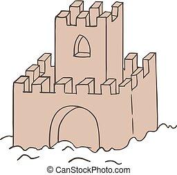piasek zamek, ilustracja