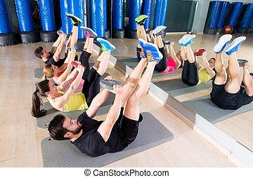 piastra, addestramento, addominale, centro, palestra, gruppo