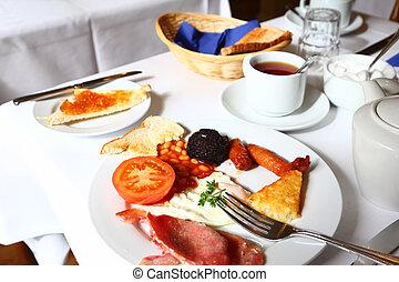 piastra, ang, bianco, pasto, tavola cena, tovaglia, coltelleria