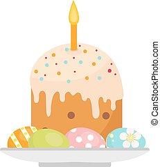 piastra, appartamento, candele, uova, illustrazione, isolato, fondo., vettore, torta, clip-art., icona, bianco, pasqua, style.