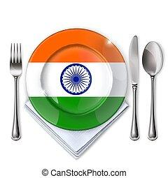 piastra, bandiera, indiano