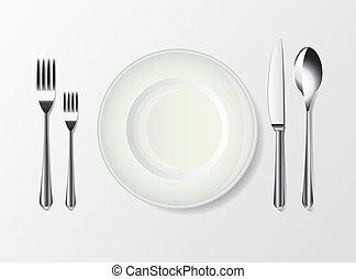 piastra bianca, cucchiaio, forchetta, e, coltello
