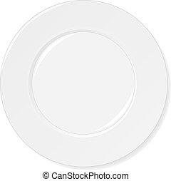 piastra bianca, isolato, bianco