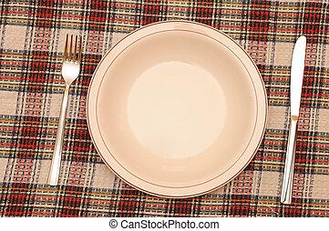 piastra, bianco, forchetta, tovaglia rossa, controllato, coltello