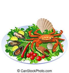 piastra, bianco, insalata granchio