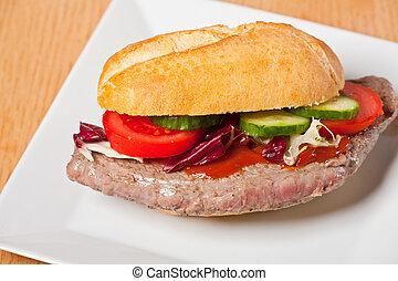 piastra, bianco, panino, bistecca