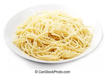 piastra, bianco, spaghetti, fondo, uno