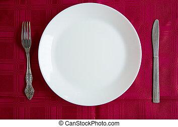 piastra, bianco, tavola., coltelleria, pulito