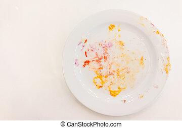 piastra, bianco, vuoto, briciole, crema